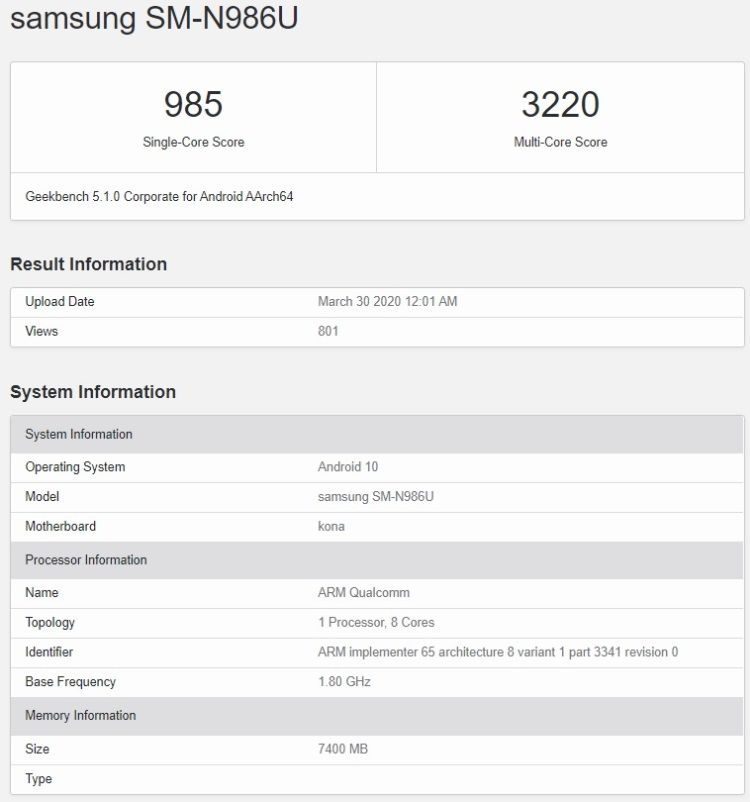Samsung Galaxy Note 20+ замечен в базе Geekbench с новым чипом Snapdragon 865 Plus